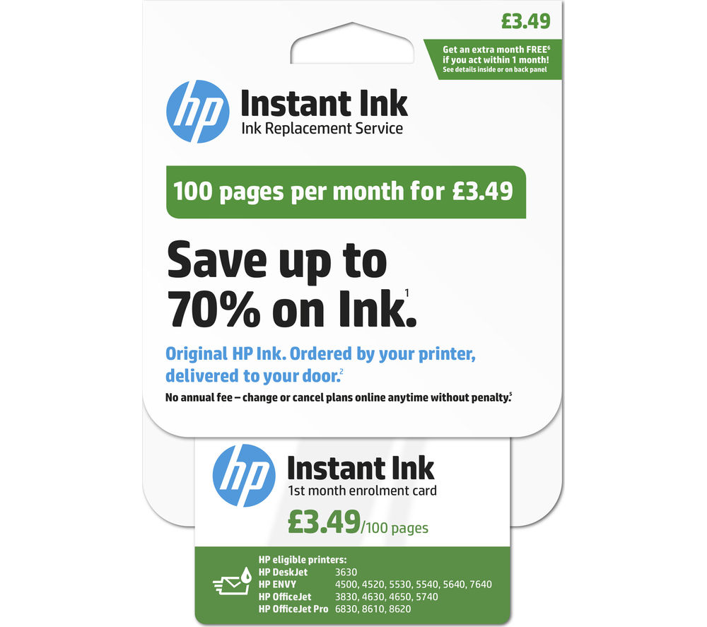 HP Instant Ink Enrollment card - 100 pages per month