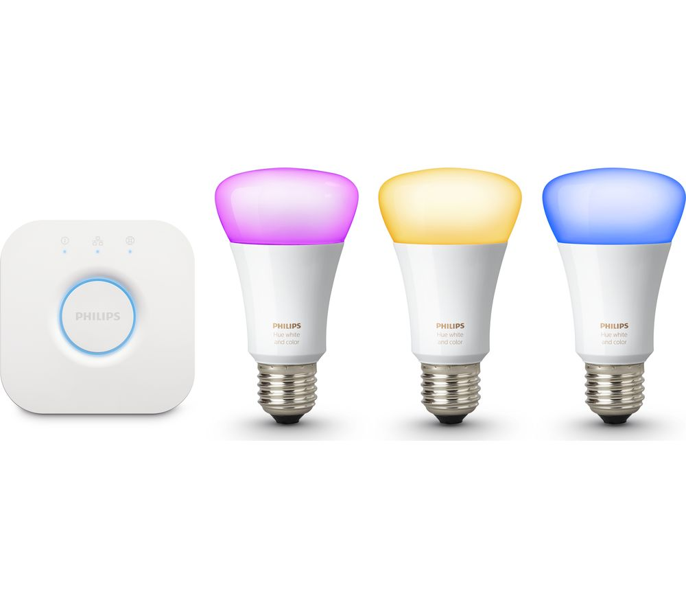 PHILIPS Hue Colour Wireless Bulbs Starter Kit - E27
