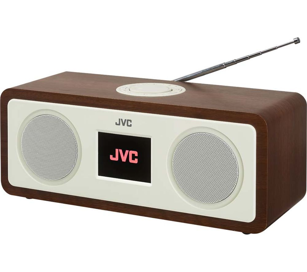 JVC RA-D77M DAB+/FM Bluetooth Clock Radio - Wood & Cream