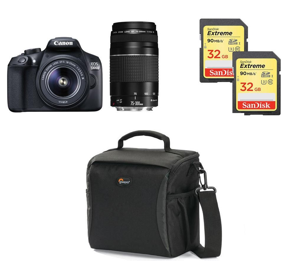Compare prices for Canon EOS 1300D DSLR Camera Twin Lenses and Accessories Bundle