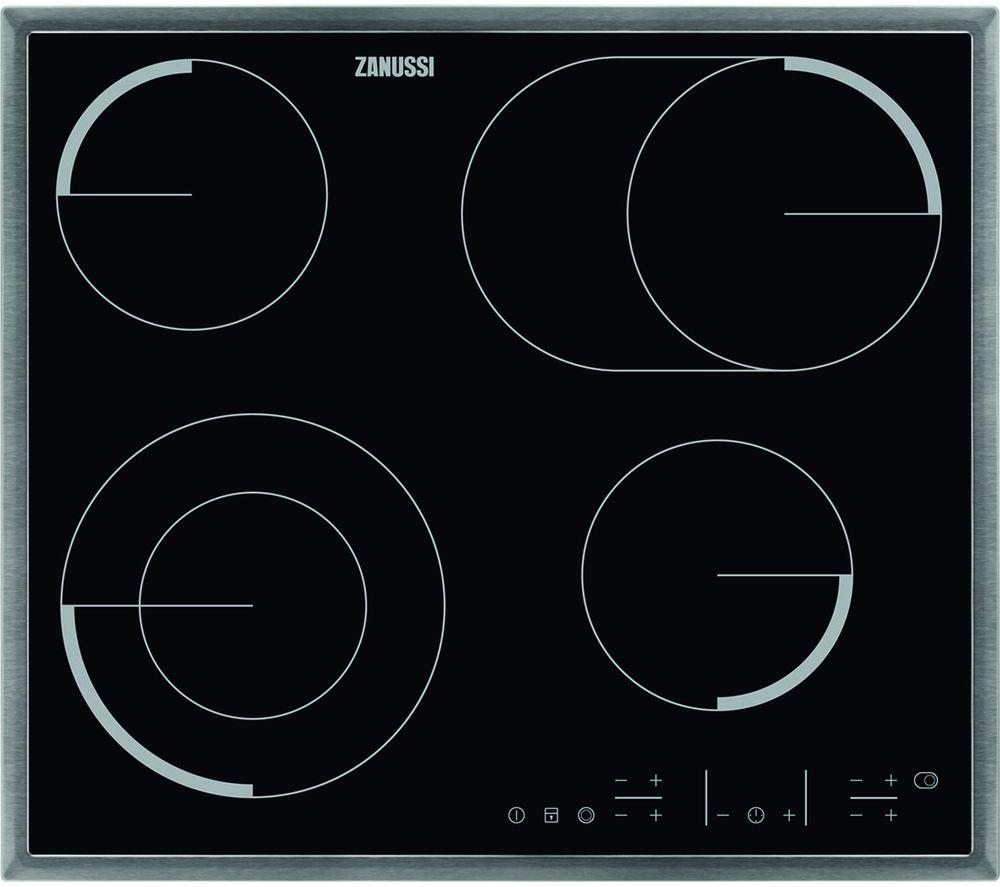 ZANUSSI ZEV6646XBA Electric Ceramic Hob - Black & Stainless Steel