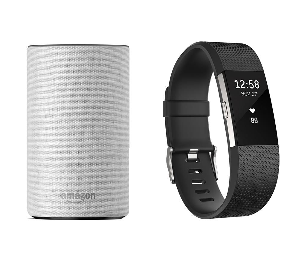 FITBIT Charge 2 (Black, Small) & Amazon Echo (Sandstone) Bundle