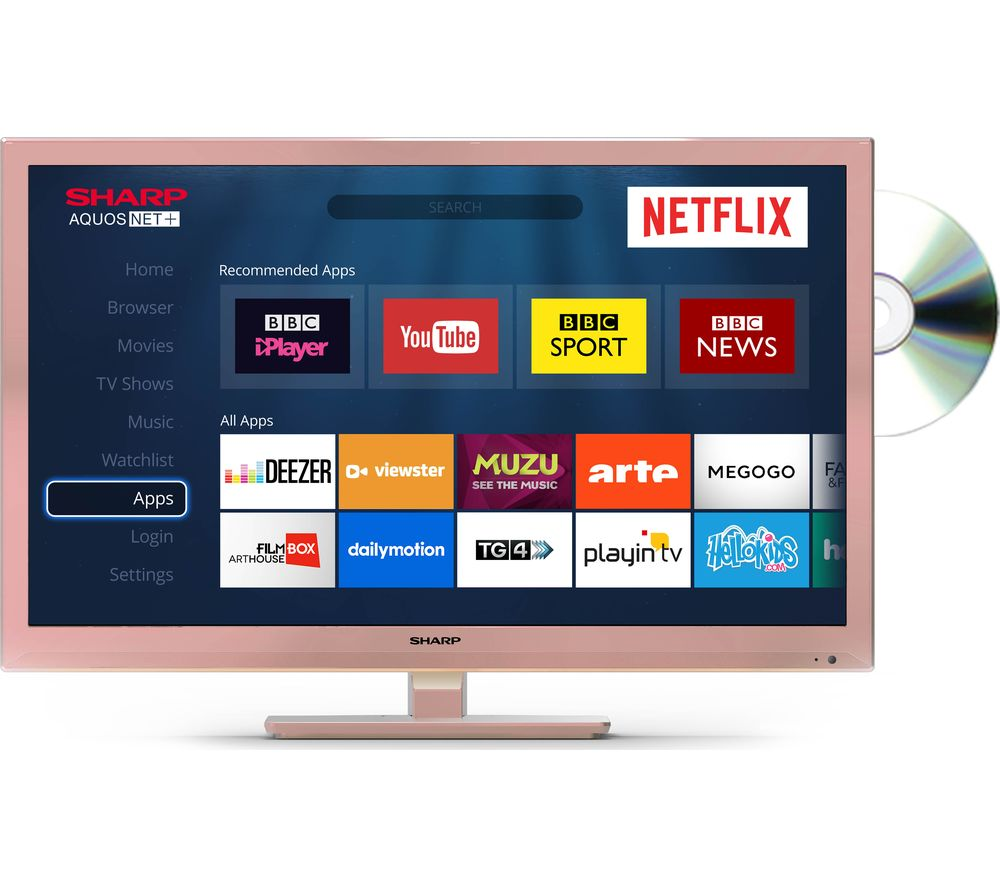 "Image of 24"" SHARP LC-24DHG6001KR Smart LED TV with Built-in DVD Player - Rose Gold, Gold"