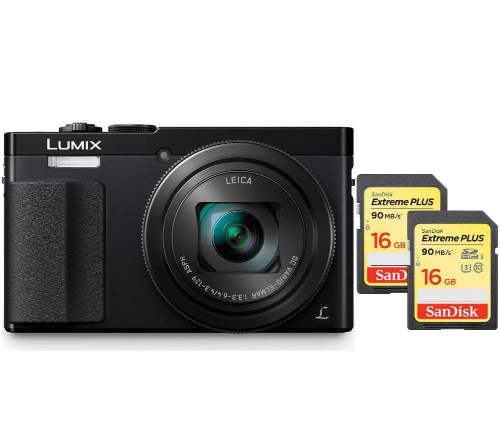 PANASONIC Lumix DMC-TZ70EB-K Compact Camera & SDHC Memory Card, 16 GB Twin Pack Bundle