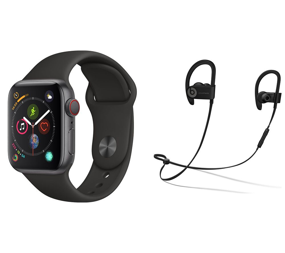 APPLE Watch Series 4 Cellular & Powerbeats3 Wireless Bluetooth Headphones Bundle - Space Grey & Black Sports Band, 40 mm, Grey cheapest retail price