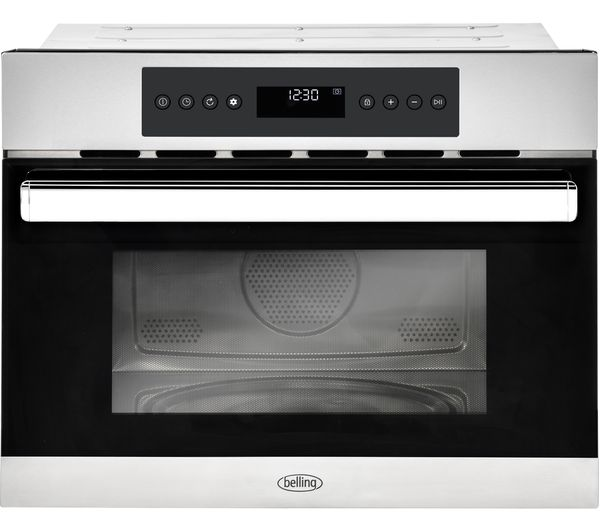 Image of BELLING BI45COMW Built-in Compact Combination Microwave - Black & Stainless Steel