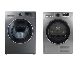 SAMSUNG DV80M5010QX/EU 8 kg Heat Pump Tumble Dryer & AddWash WW80K5410UX 8 kg 1400 Spin Washing Machine Bundle