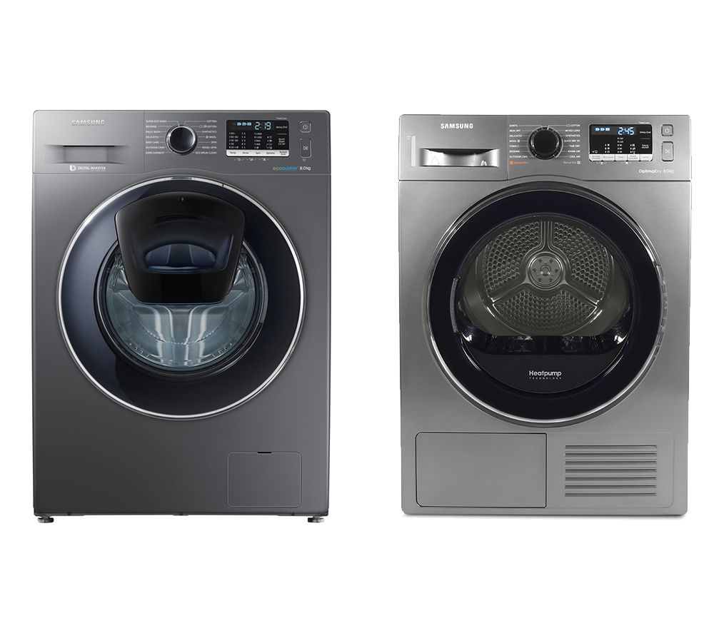 SAMSUNG DV80M5010QX/EU 8 kg Heat Pump Tumble Dryer & AddWash WW80K5410UX 8 kg 1400 Spin Washing Machine Bundle