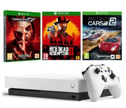 MICROSOFT White Xbox One X, Red Dead Redemption 2, Tekken 7 & Project Cars 2 Bundle
