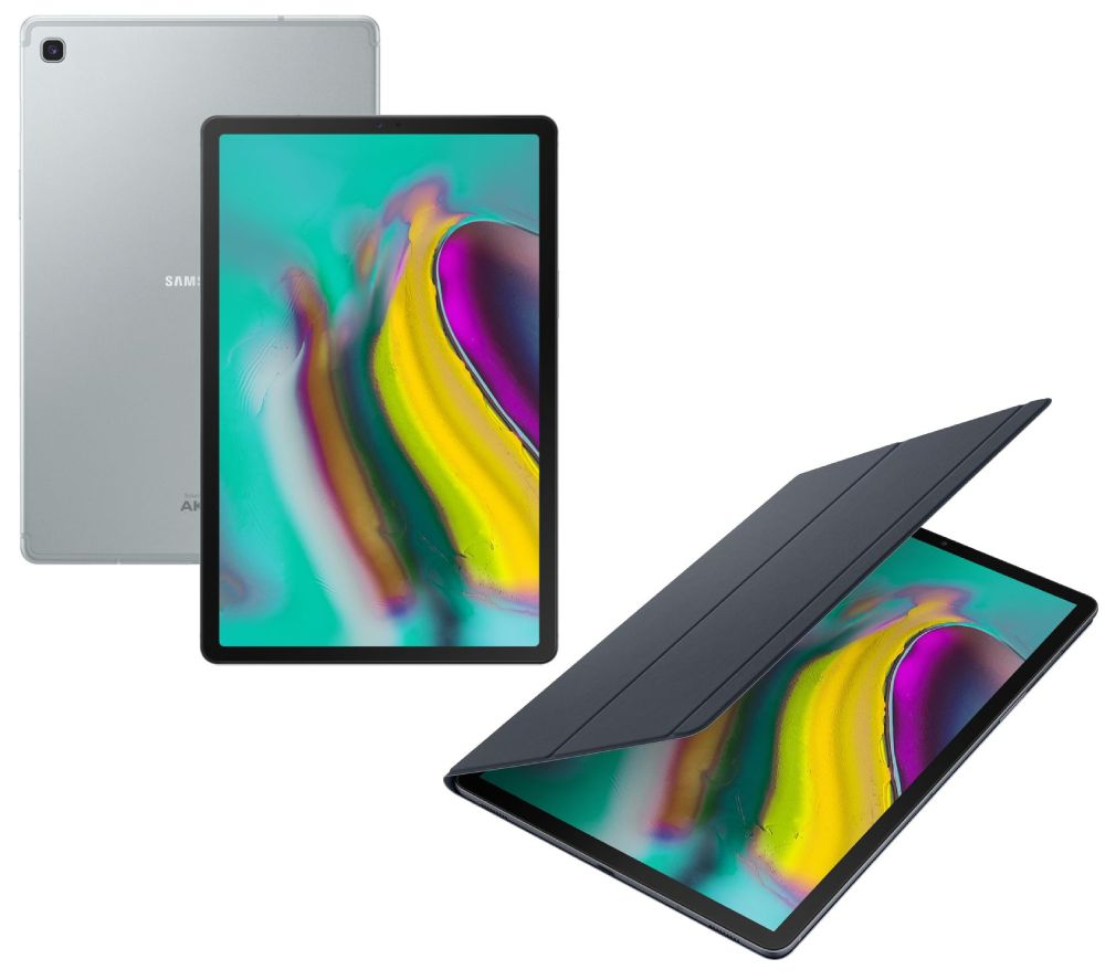 "Image of SAMSUNG Galaxy Tab S5e 10.5"" Tablet & Book Cover Bundle - 128 GB, Silver, Silver"