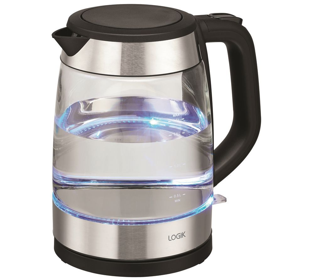 LOGIK L17GKB20 Glass Jug Kettle - Black, Black