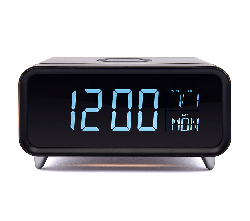 Image of GROOV-E Athena Alarm Clock with Wireless Charger - Black & Silver, Black