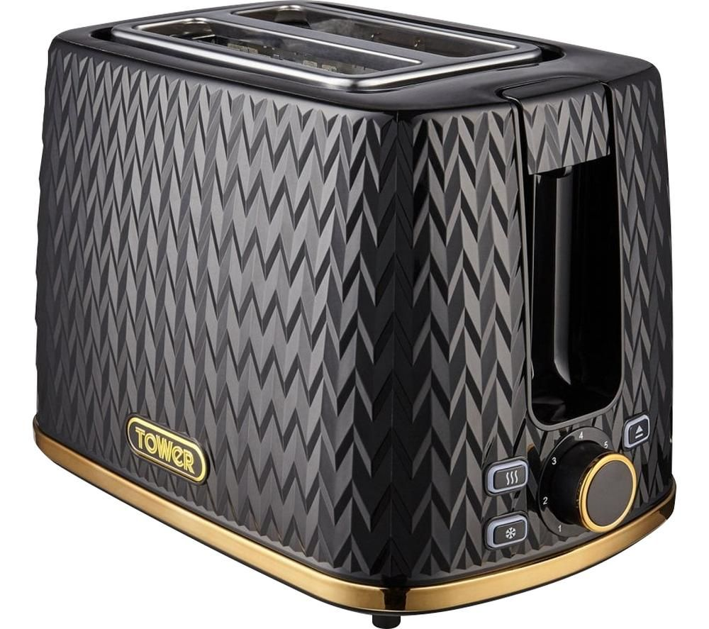 TOWER Empire Collection T20054BLK 2-Slice Toaster - Black, Black
