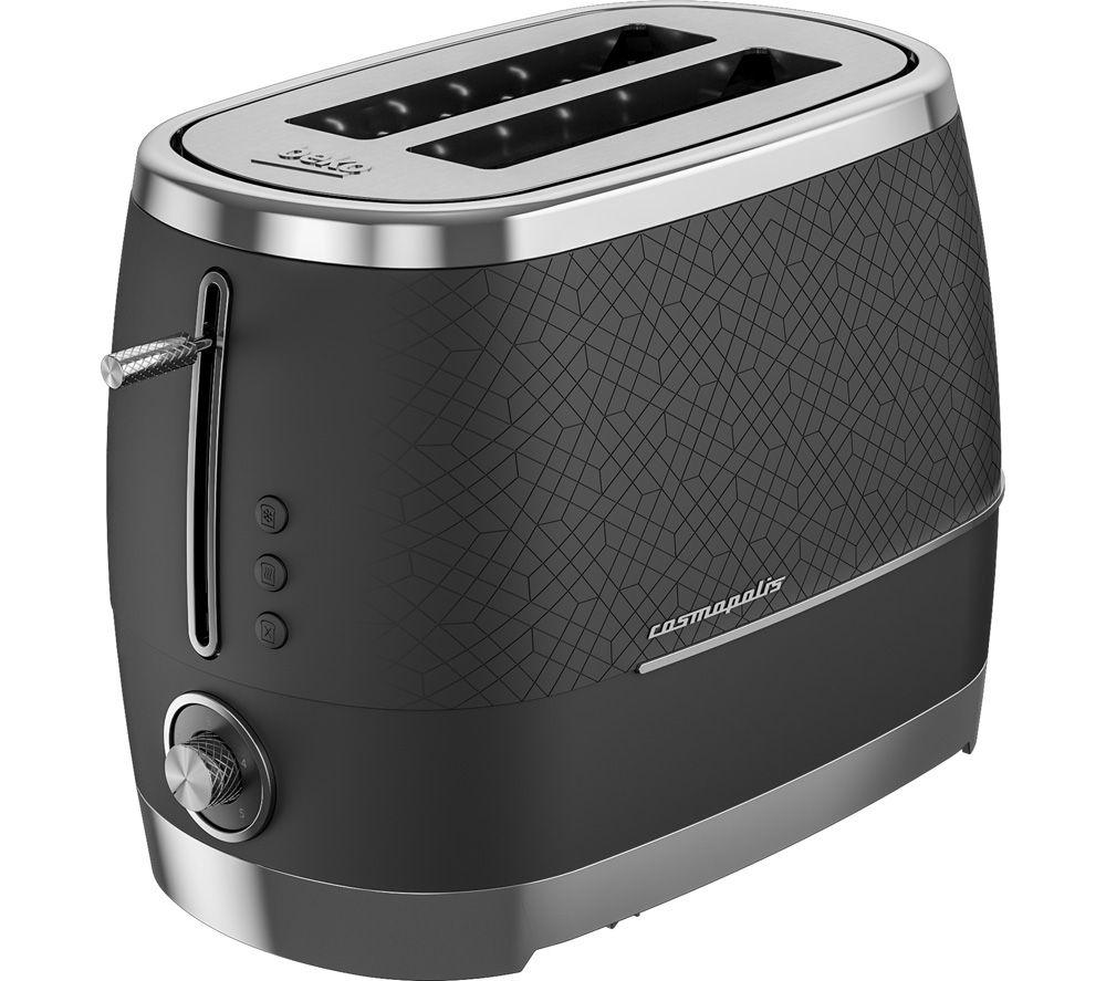 BEKO Cosmopolis TAM8202B 2-Slice Toaster - Black & Chrome, Black