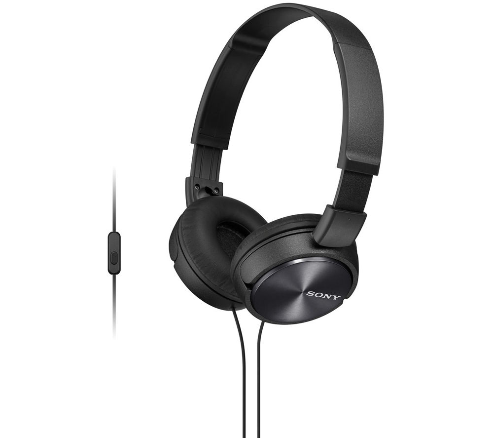 SONY MDR-ZX310APB Headphones - Black + iPhone 7 Lightning to 3.5 mm Headphone Jack Adapter
