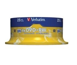 4x Speed DVD+RW Blank DVDs - Pack of 25