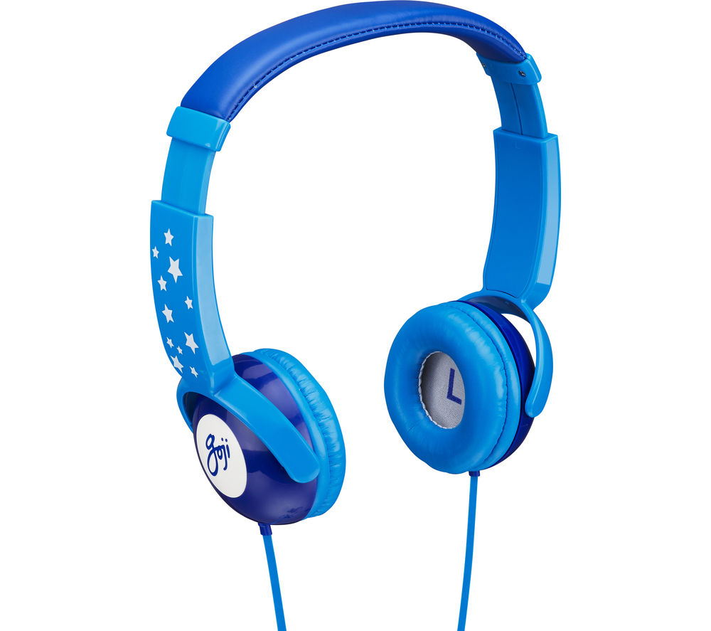 GOJI GKIDBLU15 Kids Headphones - Skyrider Blue + iPhone 7 Lightning to 3.5 mm Headphone Jack Adapter