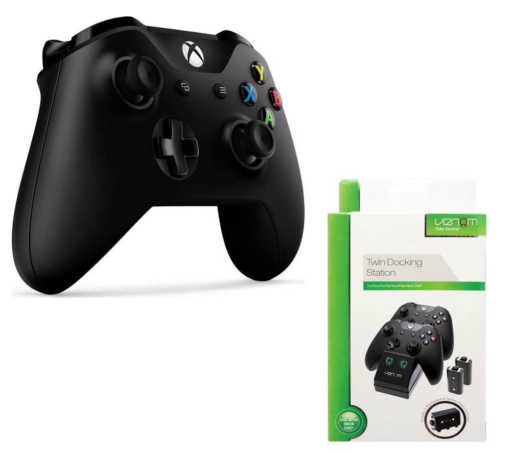 MICROSOFT Xbox One Wireless Gamepad & Twin Docking Station Bundle - Black