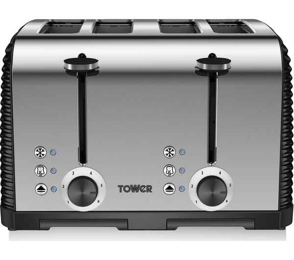 buy tower t20008 linear 4 slice toaster black free delivery currys. Black Bedroom Furniture Sets. Home Design Ideas