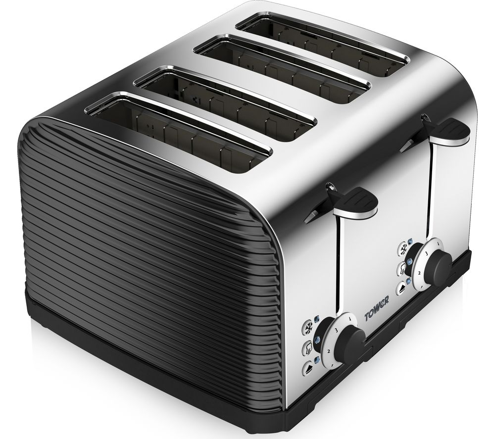 Image of TOWER T20008 Linear 4-Slice Toaster - Black, Black