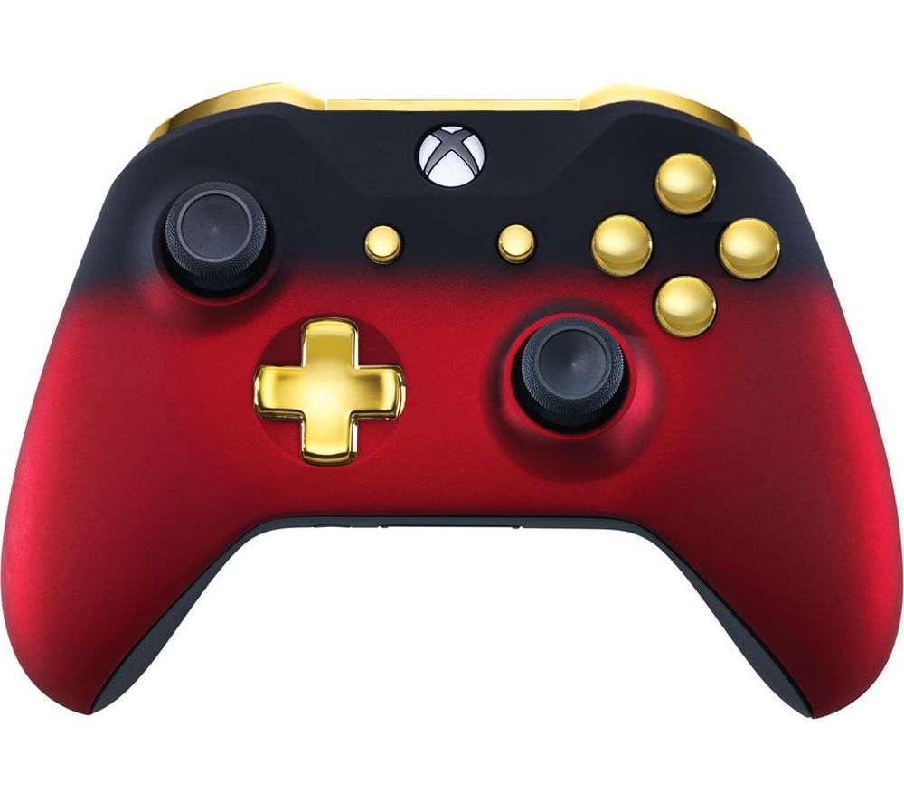 Image of MICROSOFT Xbox One Wireless Controller - Red Shadow & Gold, Red