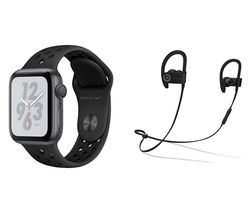 APPLE Watch Nike+ Series 4 & Powerbeats3 Wireless Bluetooth Headphones Bundle - Space Grey & Black Sports Band, 40 mm