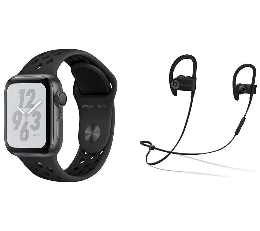 APPLE Watch Nike Series 4 & Powerbeats3 Wireless Bluetooth Headphones Bundle - Space Grey & Black Sports Band, 40 mm, Grey cheapest retail price