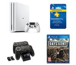 SONY PlayStation 4 Pro, Days Gone, Twin Docking Station & PlayStation Plus Bundle - 1 TB, White