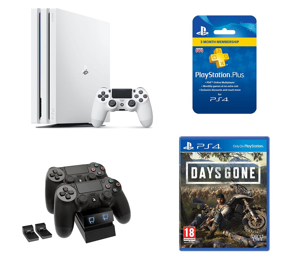 SONY  PlayStation 4 Pro, Days Gone, Twin Docking Station & PlayStation Plus Bundle - 1 TB, White, Wh
