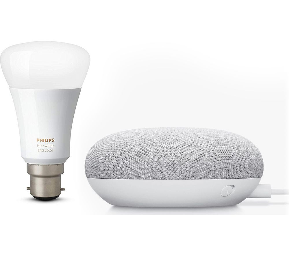 GOOGLE Nest Mini & Philips Hue White Bluetooth LED B22 Bulb Bundle - Chalk