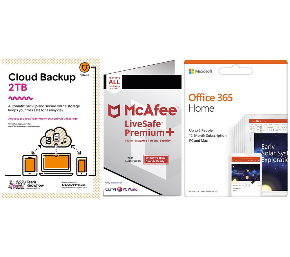 Image of MCAFEE LiveSafe Unlimited Devices, Microsoft Office 365 6 Users & Knowhow 2 TB Cloud Backup Bundle - 1 year