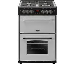 BELLING Farmhouse 60G Gas Cooker - Silver & Black Best Price, Cheapest Prices