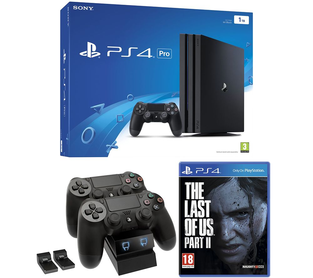 SONY PlayStation 4 Pro, The Last of Us Part II & Twin Docking Station Bundle, Red