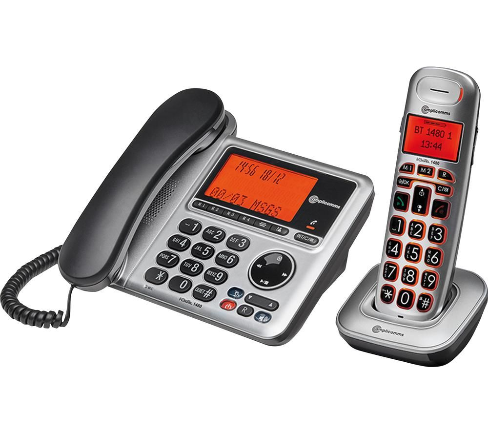 Amplicomms Bigtel 1480 Corded Phone Cordless Extension Handset