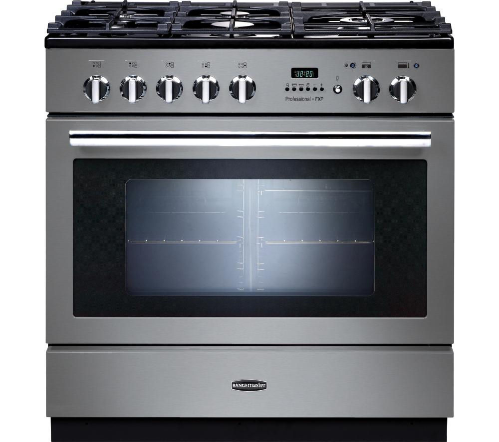 RANGEMASTER Professional+ FXP 90 Dual Fuel Range Cooker - Stainless Steel & Chrome