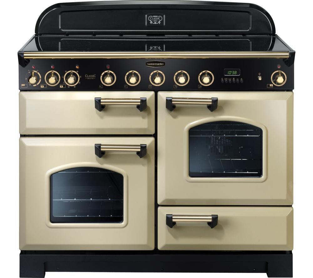 RANGEMASTER Classic Deluxe 110 Electric Induction Range Cooker - Cream & Brass