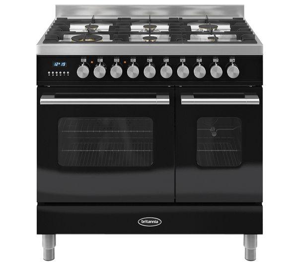 BRITANNIA Delphi 90 Twin Dual Fuel Range Cooker - Gloss Black