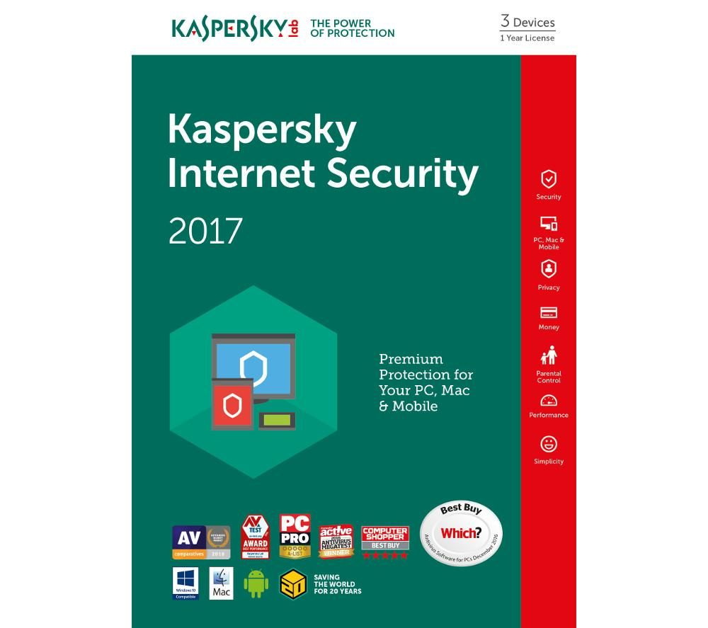 KASPERSKY Internet Security 2017 Multi-Device (3 devices, 1 year) Deals | PC World