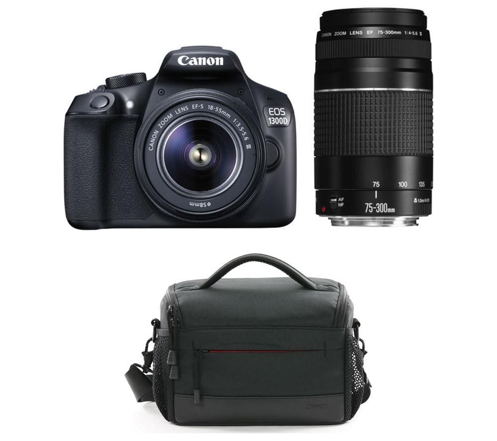 CANON EOS 1300D DSLR Camera with 18-55 mm f/3.5-5.6 & 75-300 mm f/3.5-5.6 Lens with Bag Bundle
