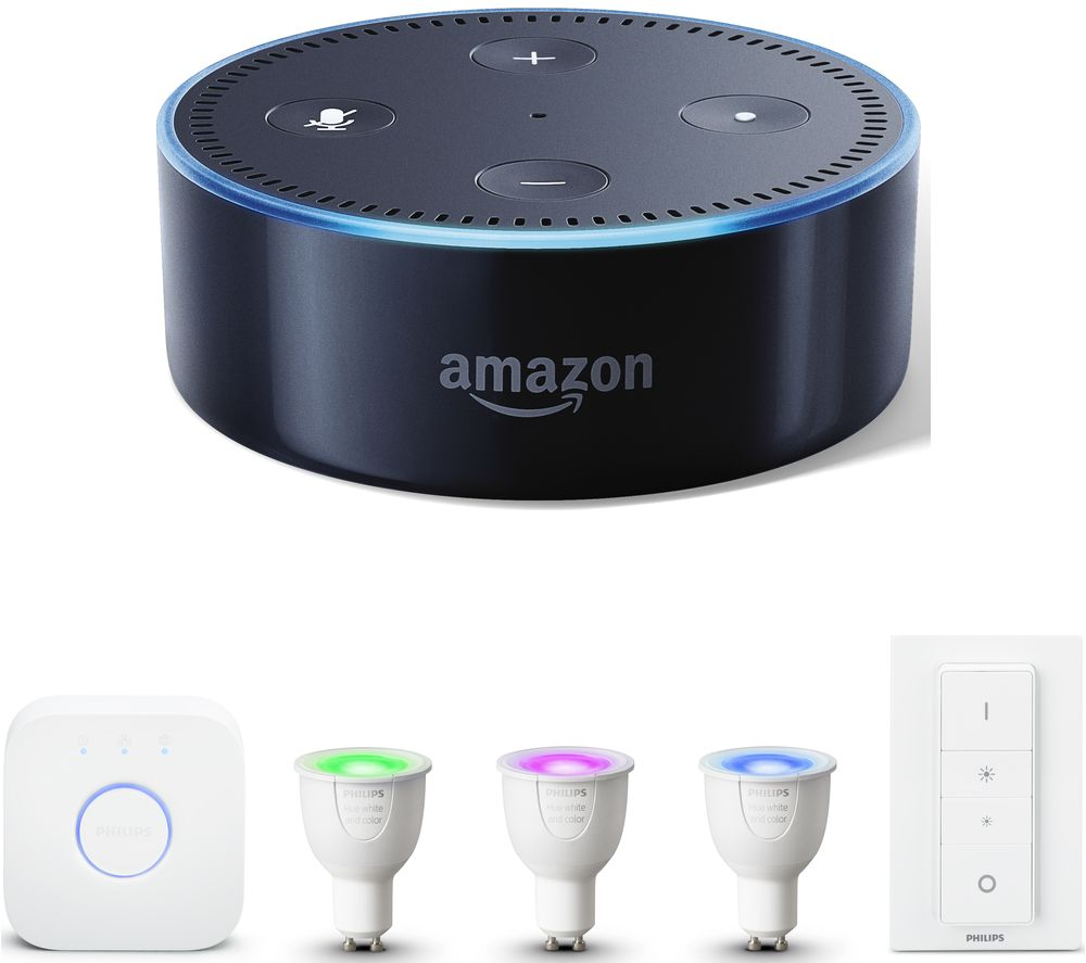 buy philips hue white colour ambience gu10 starter kit amazon echo dot bundle free. Black Bedroom Furniture Sets. Home Design Ideas