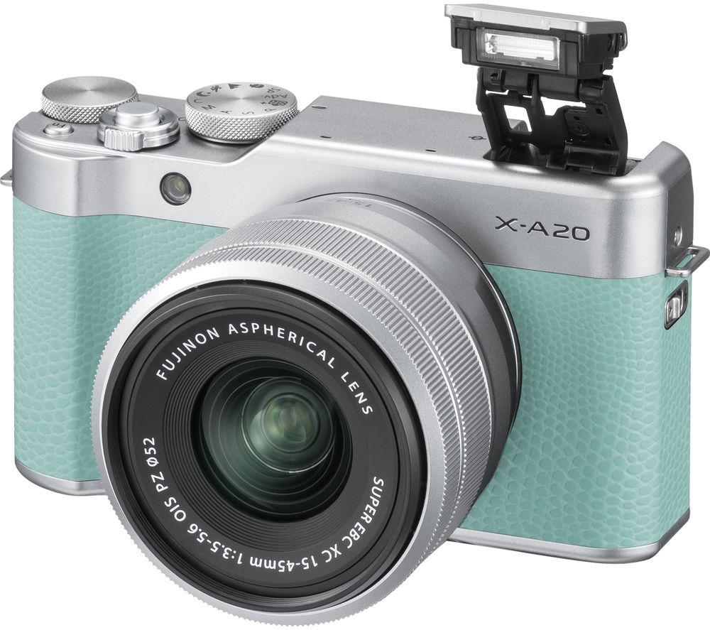 buy fujifilm x a20 mirrorless camera with fujinon xc 15 45 mm f 3 5 5 6 ois pz lens mint green. Black Bedroom Furniture Sets. Home Design Ideas