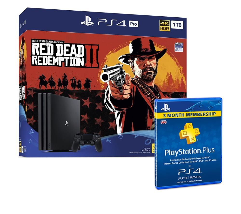 PlayStation 4 Pro, Red Dead Redemption 2 & PlayStation Plus Bundle, Red