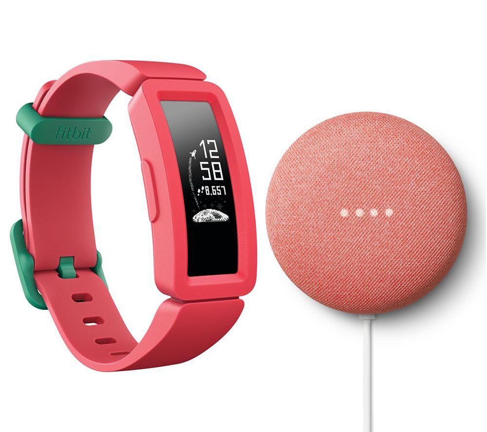 FITBIT Ace 2 Kids Fitness Tracker & Nest Mini (2nd Gen) Coral Bundle - Watermelon & Teal, Coral