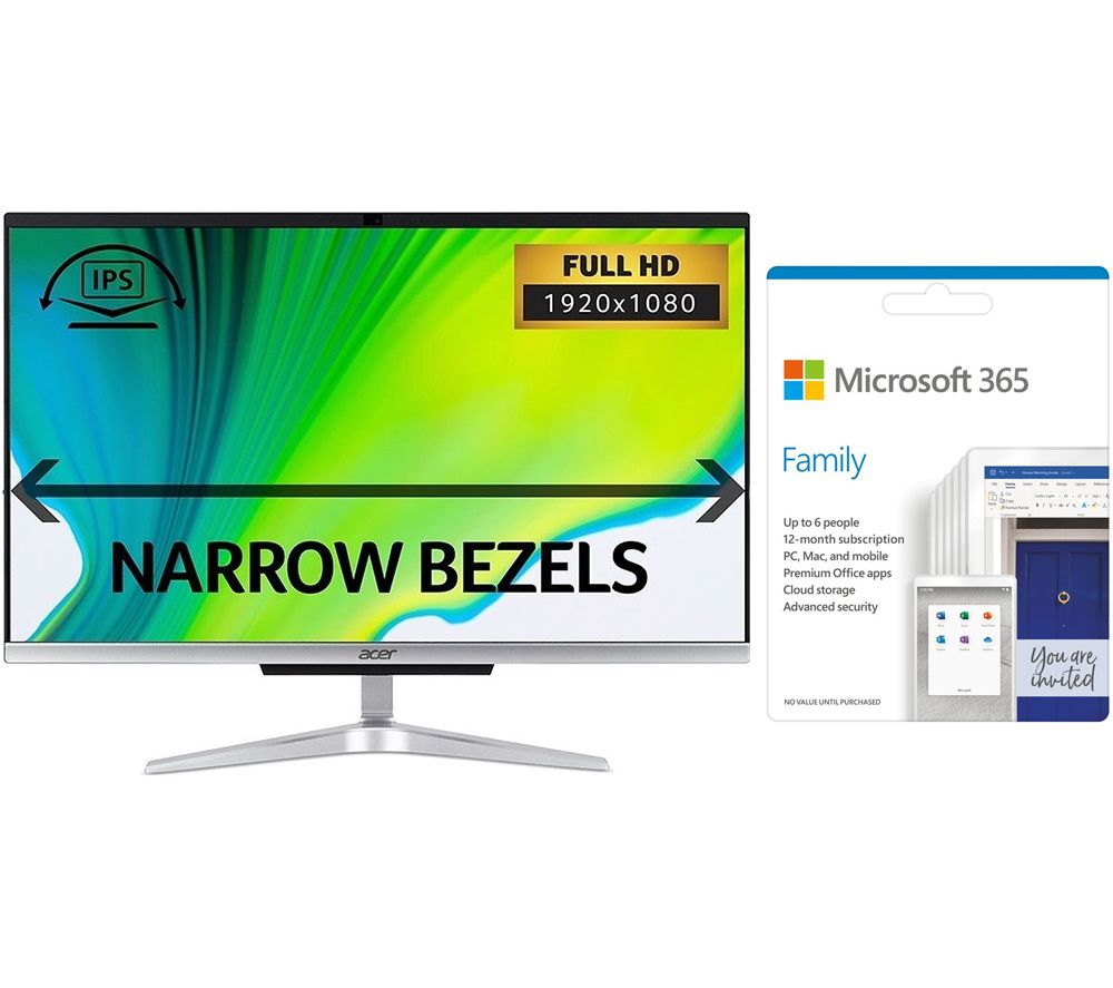 """Image of ACER Aspire C24 23.8"""" All-in-One PC & Microsoft 365 Family Bundle - Intel®Core i5, 1 TB HDD & 128 GB SSD"""